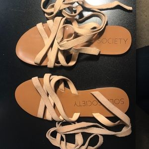 Sole Society Nude Wrap Around Sandals
